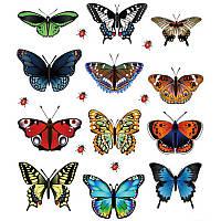 Бабочки наклейки 12 шт лист 160Х210 мм (товар при заказе от 200 грн)