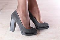 Туфли женские из натуральной замши серые на толстом устойчивом каблуке