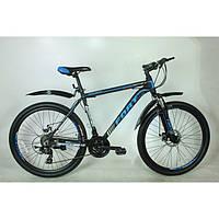 Велосипед горный Fort  Discovery 26 » Alioy черно -  голубой (матовый) MD NEW