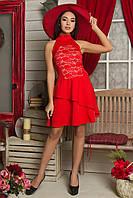 Женское коктейльное платье с воротником под шею