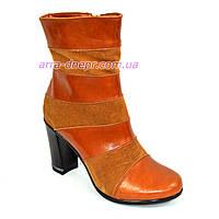 Женские зимние ботинки на высоком устойчивом каблуке, натуральный рыжий замш и кожа., фото 1