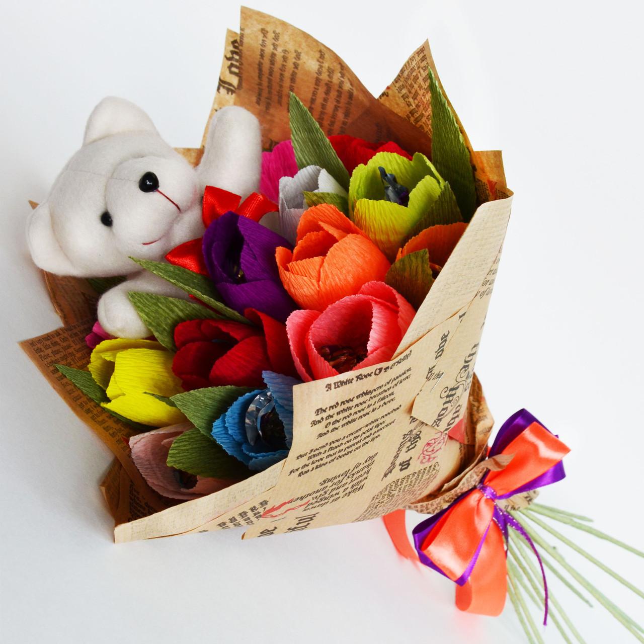 Букет из конфет с мягкой игрушкой