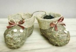 Ботиночки-пинетки коричневые из сена., фото 2