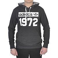 Чоловіча  спортивна кофта -кенгурушка  Adidas - 1972 (темно -сіра)