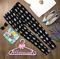 Стильные брюки на каждый день из принтованной ткани с имитацией шелковой фактуры  PN11671