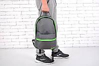 Городской рюкзак спортивный, для ноутбука, серый+салатовый
