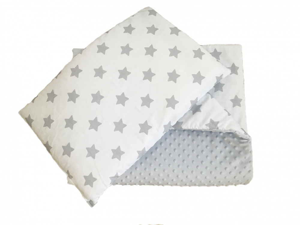 Одеяло и подушка в кроватку Twins Minky серый