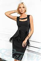 Платье с перьями. Цвет черный.