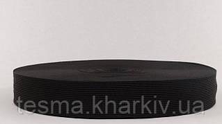 Тесьма окантовочная 32 мм 2 поперечных  Собственное производство, Черный