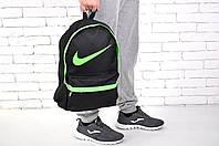 Городской рюкзак спортивный, для ноутбука, черный+салатовый