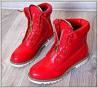 Стильные женские ботинки змейка,материал-кожзам,цвет красный