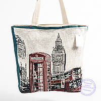 Эко-сумка с рисунком бежевая London - 729