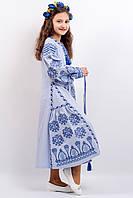 """Вишите плаття для дівчинки """"Розкіш 2"""" синє (школа)"""