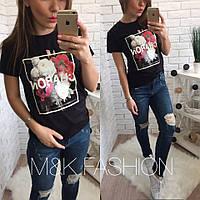 Женская стильная футболка с принтом (3 цвета)