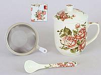 Кружка-заварник фарфоровый 300мл с металлическим ситом и керамической ложкой Корейская роза