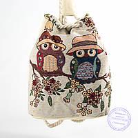 Эко-рюкзак с рисунком бежевый - 728