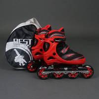 Ролики, колеса PU, d–7 см, алюминиевая рама, переднее колесо свет, красный, переставные колеса (6шт)