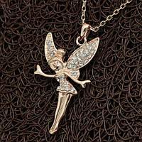 """Колье """"Динь Динь"""" кулон оригинальный женский позолоченный ангел кристаллы Сваровски"""