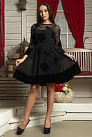 Женское красивое коктейльное платье | Сетка+Велюр