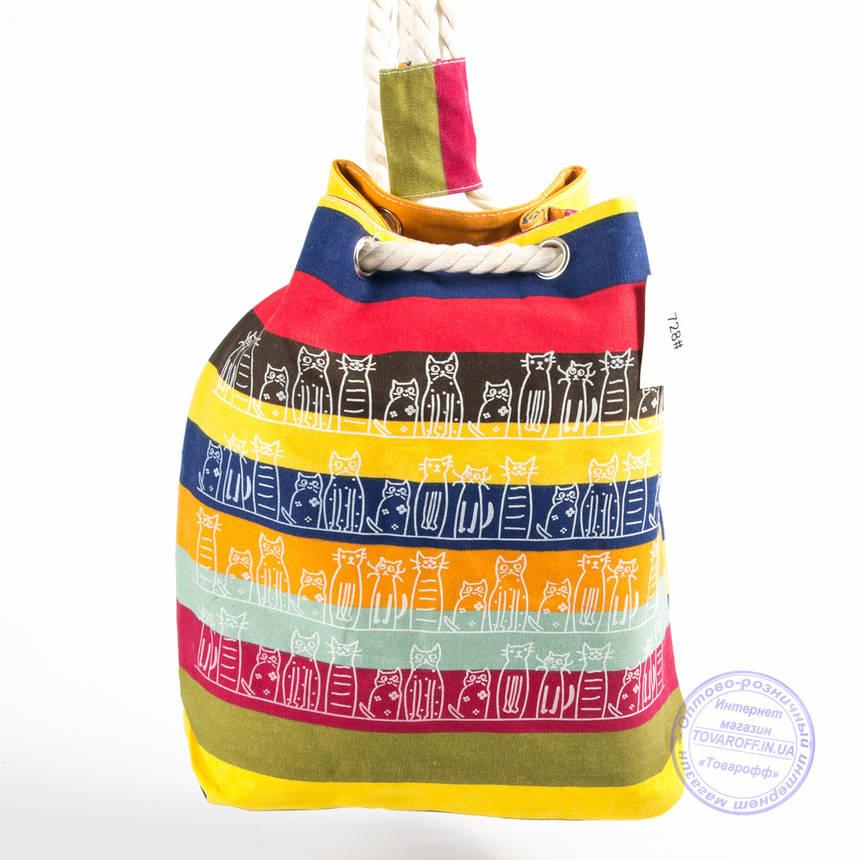 Экорюкзак с рисунком разноцветная с котиками - 728, фото 2