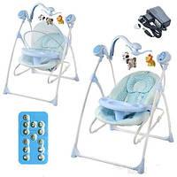 Шезлонг-качалка детский Bambi M 1540-2-2 электропривод 2 в 1 мобиль музыка таймер москитная сетка, голубой