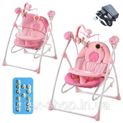 Шезлонг-качалка детский Bambi M 1540-1-2 электропривод 2 в 1 мобиль музыка таймер москитная сетка, розовый