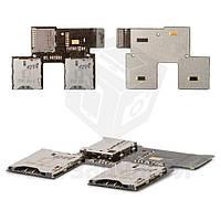 Коннектор SIM-карты для мобильного телефона HTC T326e Desire SV, на две SIM-карты, с коннектором карты памяти, со шлейфом