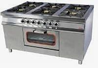 Плита 6-ти конфорочная с духовым шкафом и газовым контроллером (400х400) Pimak МО15-6  Корпус - нержавеющая ст