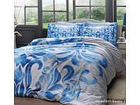 Постельное белье Tac сатин Delux - Fabrice mavi V1 голубое евро