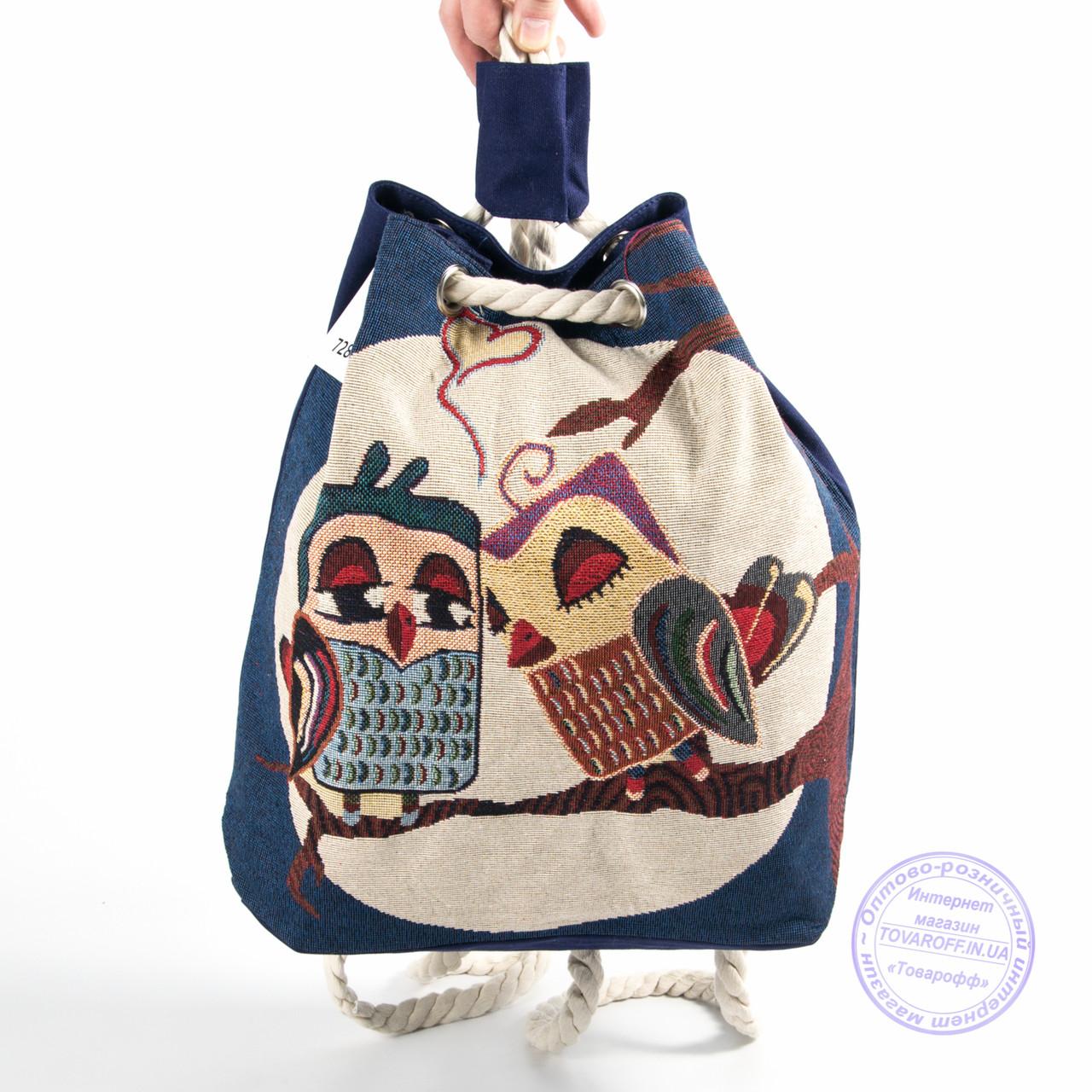 Эко рюкзак с рисунком синий с совами - 728