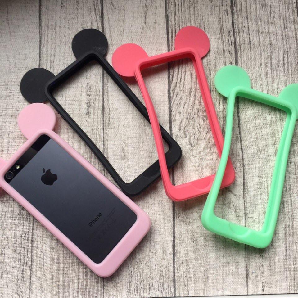 Силиконовый бампер ушки Микки Мауса для iPhone 5/5s/SE