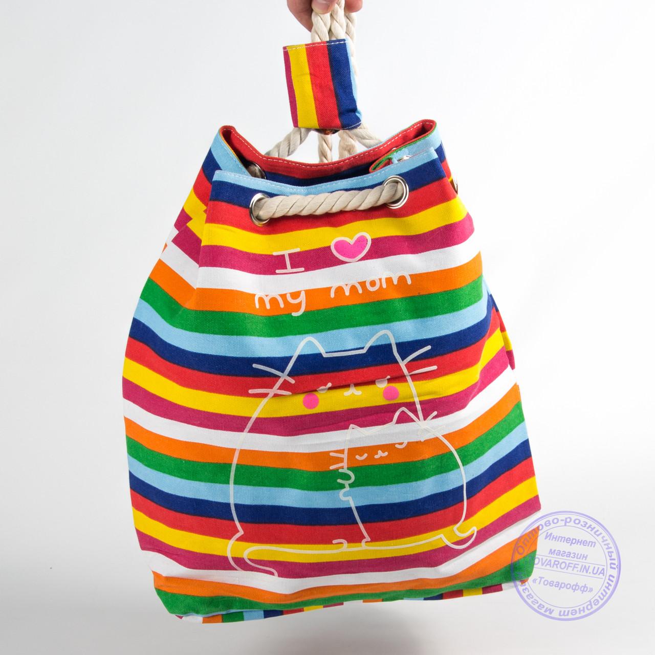 Еко рюкзак з малюнком різнобарвна з котами - 728