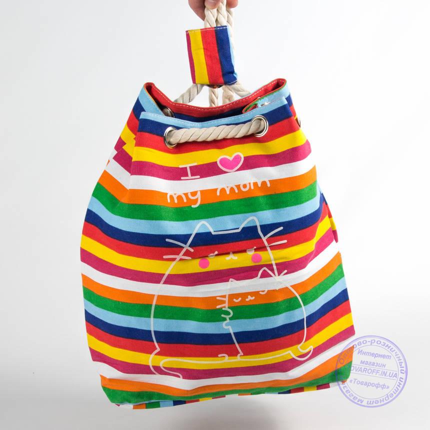 Еко рюкзак з малюнком різнобарвна з котами - 728, фото 2