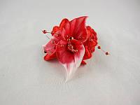 """Резинка плетёнка цветн.""""кала""""3-ая на атласе в сер.+блест.жемч.веточки(6расцв.)(20шт.в кор.)"""