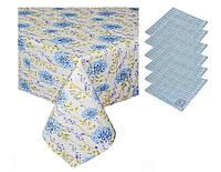 Набор подарочный скатерть и 6 салфеток Луговые цветы Голубая клеточка ТМ Прованс by Andre Tan