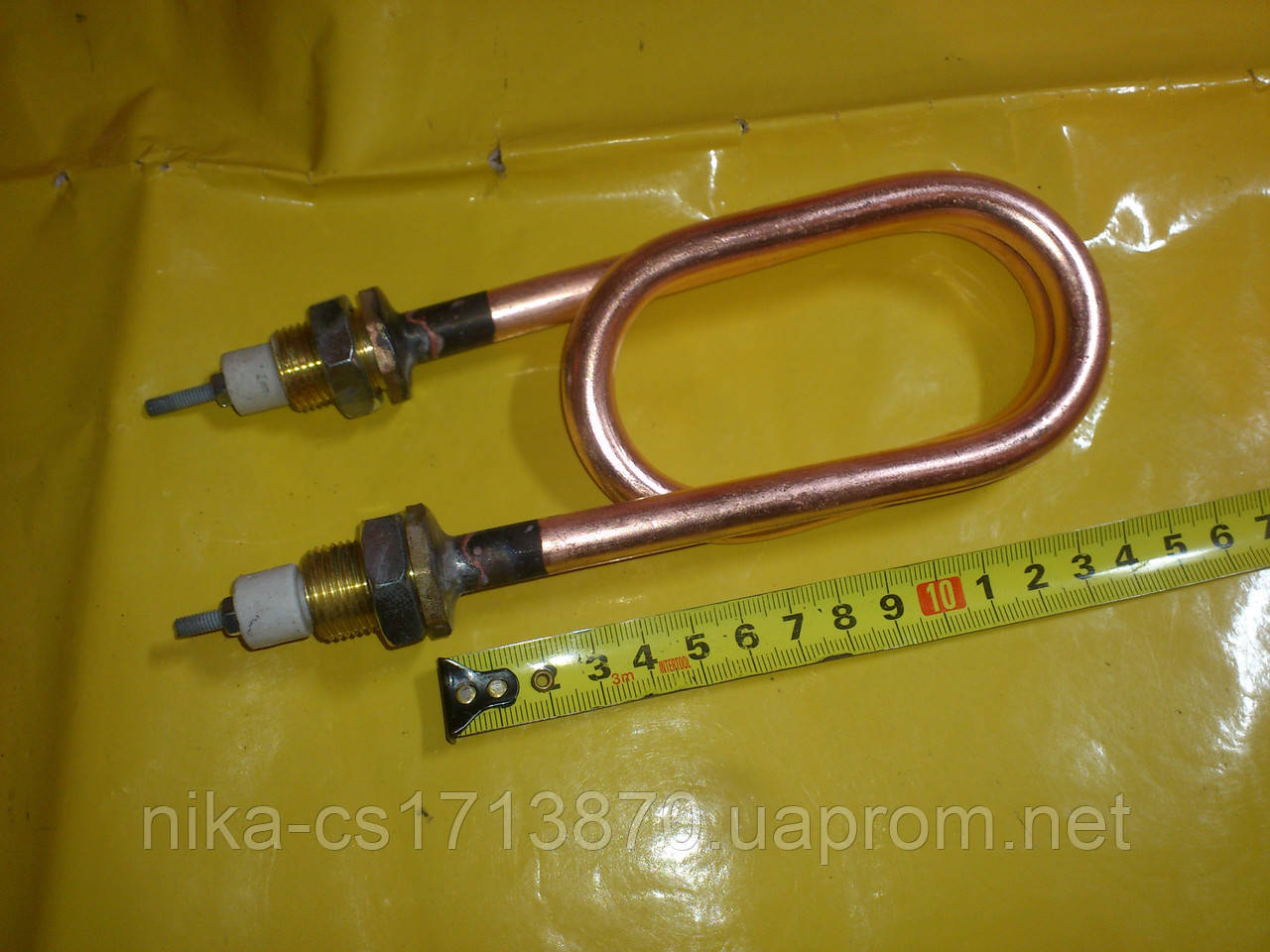 Медный тэн скрепка для дистиллированния воды 2.0 кВт. / 220 В. резьба м-18 мм. Украина .