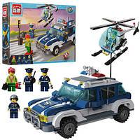 Конструктор BRICK 1117 полиция, машинка, вертолёт, фигурки 4шт., 394 дет.