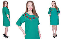 Стильное платье с вышивкой. Цвет зеленый. Размер 54,56,58,60. Код 575, фото 1