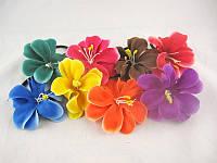 Резинка тонк.трубочка(чёрн.)цветок-орхидея(20шт.в кор.)(8расцв.)