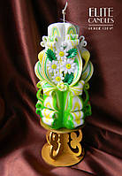 Резная свеча ручной работы на 8 марта, день Святого Валентина, 14 февраля с ромашками из полимерной глины