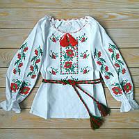 """Українська вишиванка для дівчинки на домотканному полотні """"Колоритні маки"""" 110-170 см"""