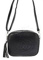 Аккуратная женская маленькая наплечная сумка почтальонка с экокожи art. X-146 черная