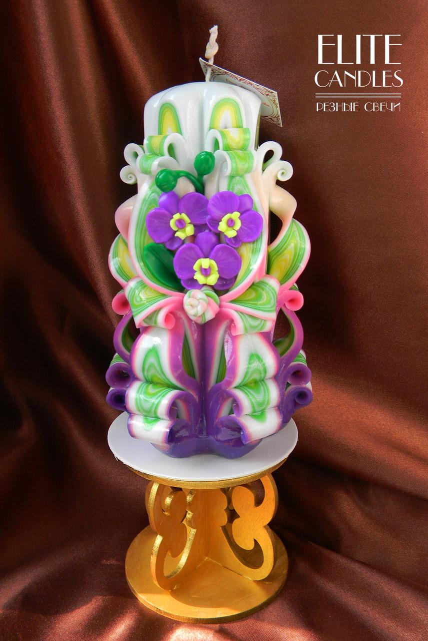 Свеча с орхидеями из полимерной глины для подарка близким людям