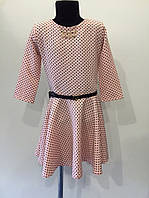 Платье розовое горох с поясом р. 30,34