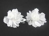"""Тик-так в ткани""""цветок""""с розочкой(белая серия)(10шт.в л.)"""