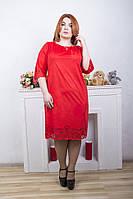 Платье большого размера Лиана Замша (2 цвета), замшевое платье для полных
