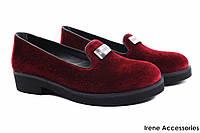 Стильные туфли комфорт Donna Ricco женские бархат, цвет бордо (каблук, Турция)