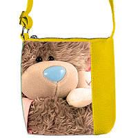 Желтая детская сумка для девочки с принтом Мишка Тедди