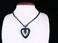 Бусы из гематита с сердечком (синяя вставка)