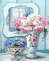 Картина раскраска по номерам без коробки Идейка Натюрморт с пионами и зеркалом (KHO2038) 40 х 50 см